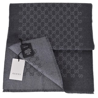 "Gucci Unisex Grey Wool Double Jacquard GG Guccissima Scarf Muffler - 69"" x 13"""