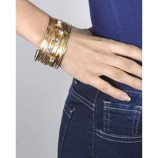 Crystal Studded Multiple Strand Open End Bracelet - Color - Gold