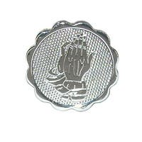 CTM® Men's Praying Hands Tie Tac with Scalloped Edges - Silver - One size