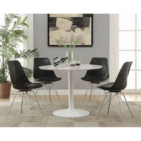 Silver Orchid Rosar White Metal Round Dining Table
