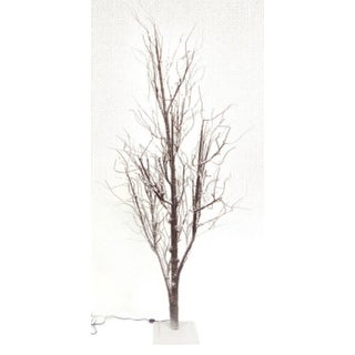 6' LED Lighted Frosted Brown Christmas Twig Tree - Warm Clear Lights
