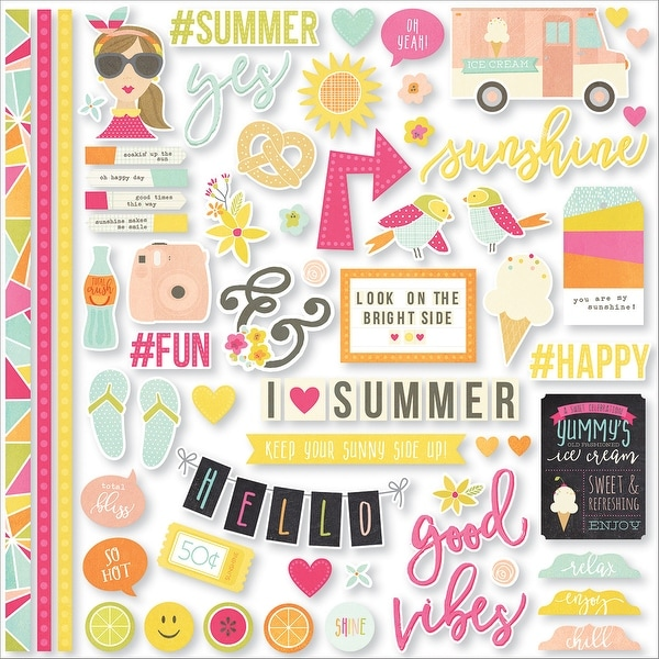 "Sunshine & Happiness Cardstock Stickers 12""X12""-Fundamentals"