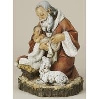 "11.5"" Joseph's Studio Kneeling Santa with Baby Jesus Christmas Figure - Multi"