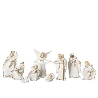 "9 Piece Set of 6"" Ivory and Gold Inspirational Porcelain Nativity Figure"