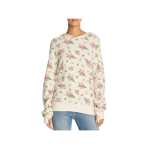 Pam & Gela Womens Sweatshirt Floral Fleece Lined - XS