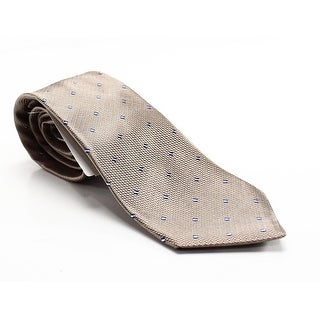 Westbury London NEW Beige Geometric Square Extra Long Mens Silk Necktie