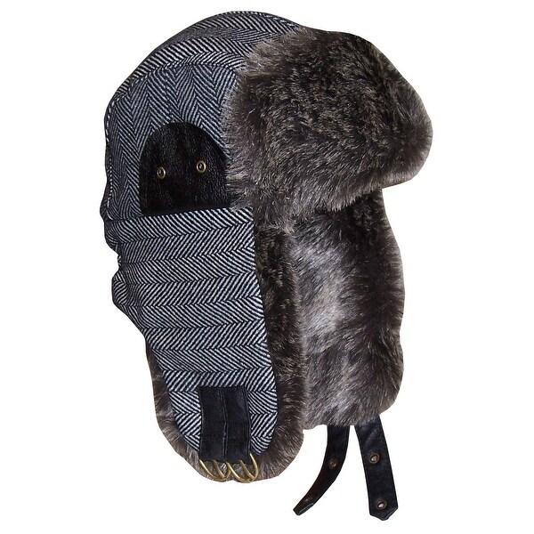 47f7fbb61 NICE CAPS Men's Striped Tweed Trapper Hat with Faux Fur Lining - grey/black  tweed stripes - 59cm (men's)