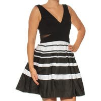 XSCAPE Womens Black Sheer Cut Out Sleeveless V Neck Above The Knee Fit + Flare Cocktail Dress  Size: 4