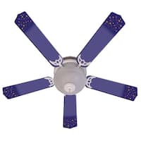 Purple Shooting Stars Print Blades 52in Ceiling Fan Light Kit - Multi