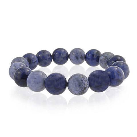 Round Ball Bead Boho Fashion Shades Of Denim Blue Sodalite Strand Gemstone Stretch Bracelet For Women For Teen 12MM