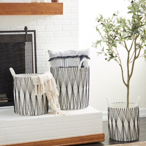 White Plastic Natural Storage Basket (Set of 3) - 18 x 16 x 21