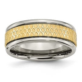Chisel Titanium 8mm Gold Plated Fancy Band