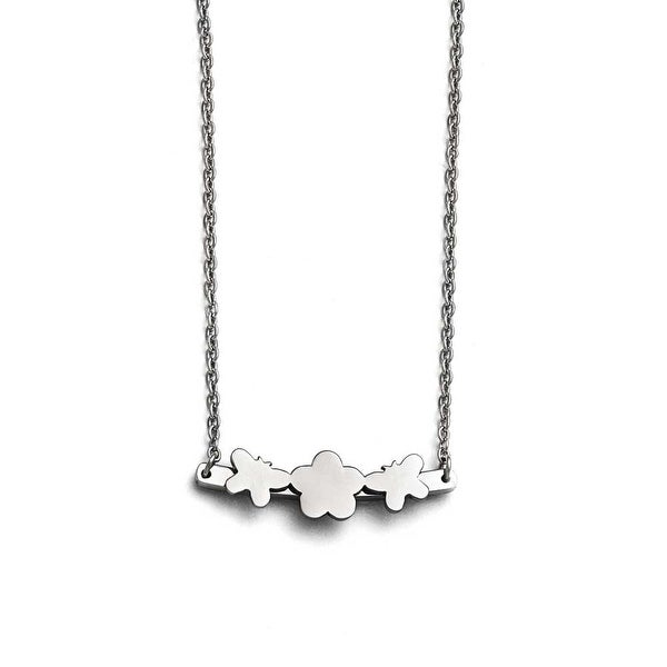 Chisel Stainless Steel Polished Butterfly & Flower Necklace - 17.75 in