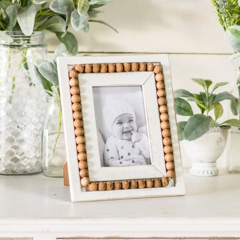 Beaded Wood Photo Frame