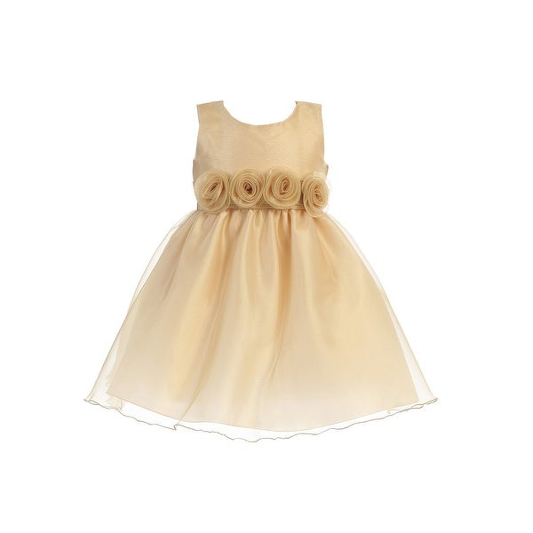 cc38ee3542b9 Shop Lito Little Girls Gold Crystal Organza Flower Trim Christmas Dress - Free  Shipping Today - Overstock - 23542151