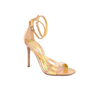 Gianvito Rossi Gold Iridescent Double Ankle Strap Heel Sandals