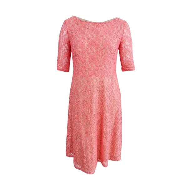 Sangria Women\'s Plus Size Lace Elbow Sleeves Casual Dress (14W, Coral Reef)  - Coral Reef - 14W