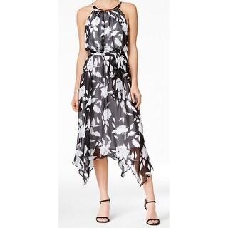 Sangria NEW Black Women's Size 14 Printed Asymmetrical Hem Dress