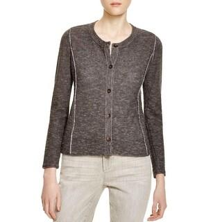Eileen Fisher Womens Cardigan Sweater Linen Blend Button Down
