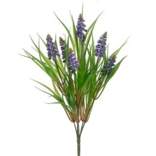 14 Artificial Perennial Craft Purple Muscari Grape Hyacinth with Leaves