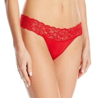 Calvin Klein Womens Seductive Comfort Lace Thong Large L Regal Red Panties