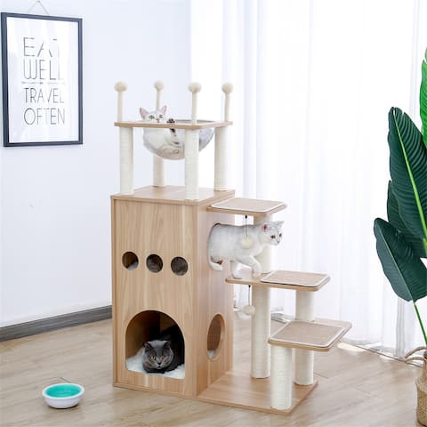 Cat Tree Cat Tower Featuring w/Fully Sisal Covering Scratching Posts