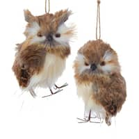 Club Pack of 12 Woodland White and Brown Owl Pair Ornaments 5""