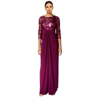 Adrianna Papell Sequin 3/4 Sleeve Illusion Top Evening Gown Dress