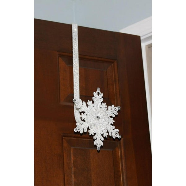 "17"" Sparkling Whites Glitter Jeweled Snowflake Over-the-Door Christmas Wreath Hanger - WHITE"