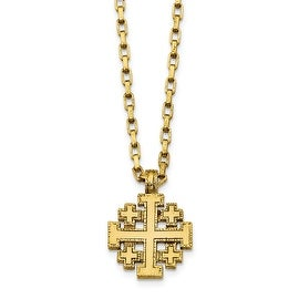 14k Gold IP Jerusalem Cross Necklace - 18in