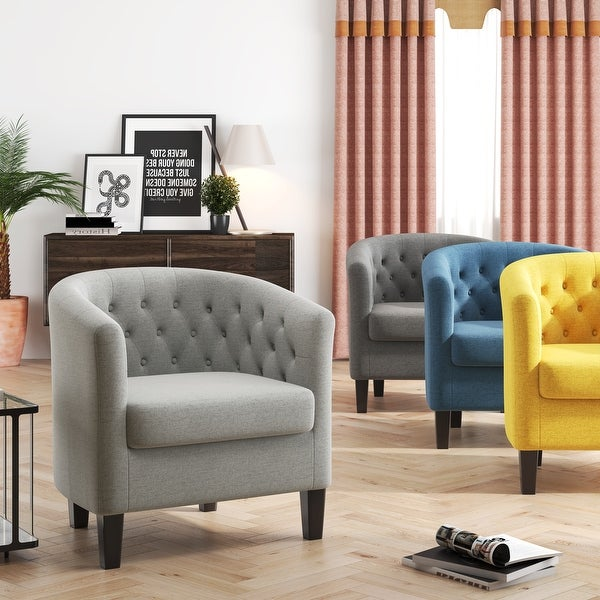 Corvus Oxonia Tufted Fabric Upholstered Club Chair. Opens flyout.
