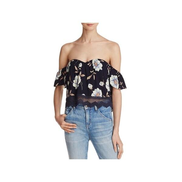 2bc8bf63363d9a Shop Cotton Candy Womens Crop Top Floral Print Off-The-Shoulder ...