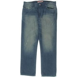 Tommy Hilfiger Mens Reed Denim Distressed Straight Leg Jeans