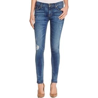 Hudson Womens Krista Skinny Jeans Medium Wash Distressed