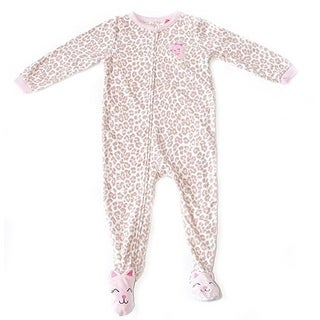 Carter's Little Girls' Tan and Pink Kitten Leopard with Bow Fleece Footed Sleeper