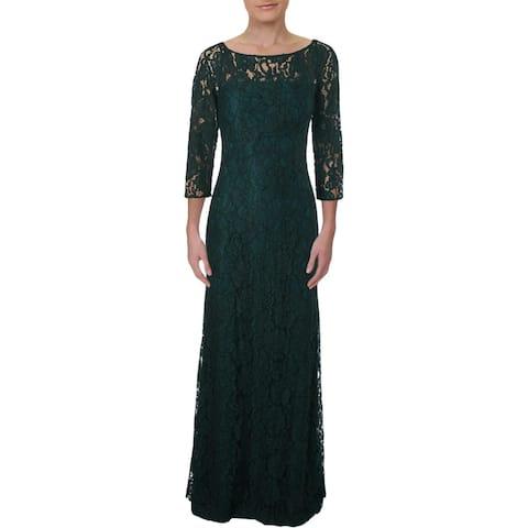 Lauren Ralph Lauren Womens Kirkwood Evening Dress Lace Floral Print