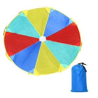 Costway 6 FT Folded Play Parachute for Kids with 8 Resistant-Handles Indoor Outdoor Game - red, yellow, blue and green