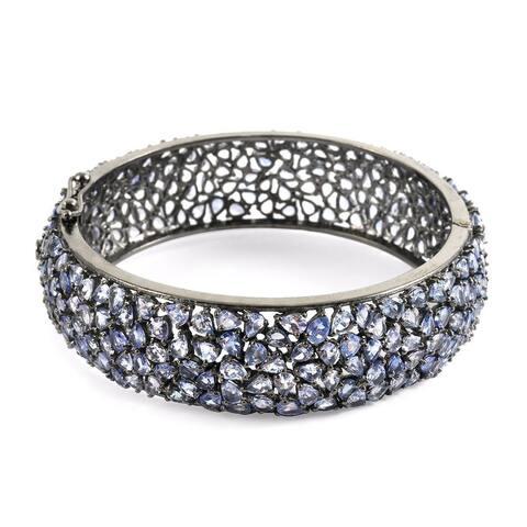 Blue Tanzanite Bangle Bracelet Sterling Silver Size 6.5 Inch ct 37.75 - Size 6.50''