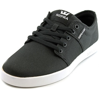 Supra Stacks II Men Round Toe Canvas Black Skate Shoe