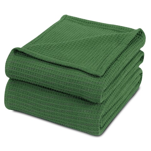 100% Premium Combed Cotton Woven Thermal Blankets All Season Light Weight