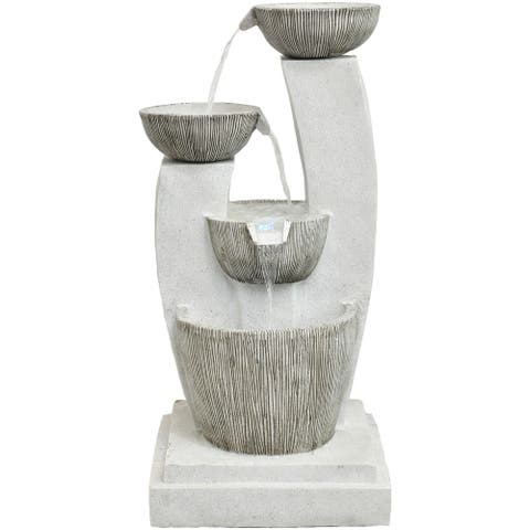 Hanover 42.5-In. Contemporary Basin Indoor or Outdoor Garden Fountain with LED Lights for Patio, Deck, Porch