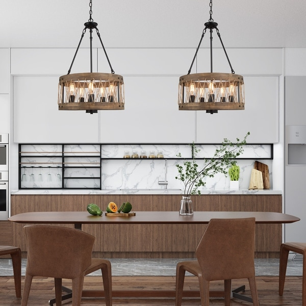 """Rustic 5-light Wooden Round Chandelier Ceiling Pendant Lighting for Kitchen Island - W18.1"""" * L18.1"""" * H27.6"""". Opens flyout."""