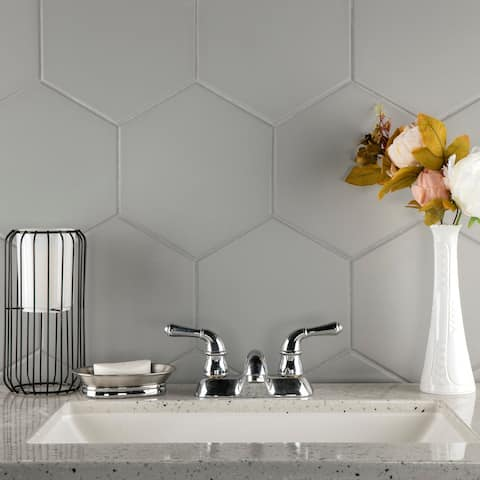 """SomerTile Textile Hex Silver 8.63"""" x 9.86"""" Porcelain Floor and Wall Tile"""