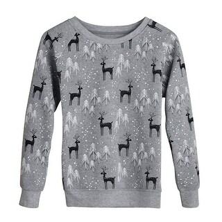 Women's Holiday Sweatshirt - Deer in Snow Print