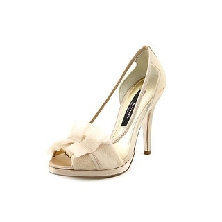 Nina Ellen Women Peep-Toe Canvas Gold Heels
