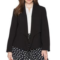 Nine West Black Womens Size 20W Plus Fly Away Open Front Jacket