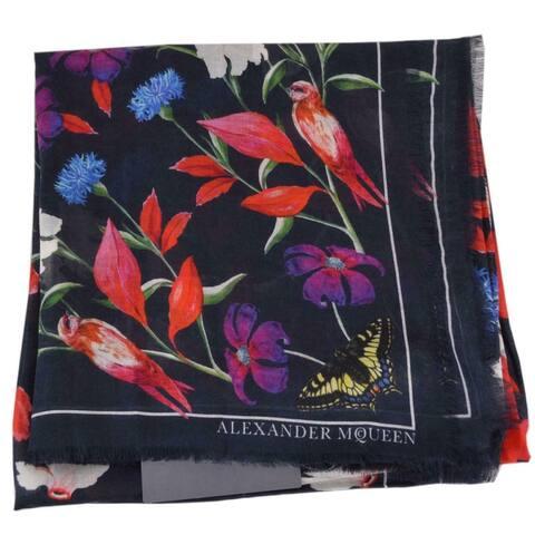 Alexander McQueen 532165 MYTHICAL CREATURE Cranes Wool Modal Scarf