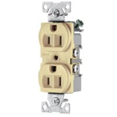 shop cooper wiring br15v 3-wire duplex receptacles, 15 amp, ivory - free  shipping on orders over $45 - overstock - 20648867