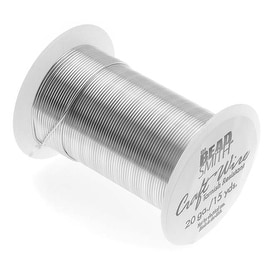 Beadsmith Tarnish Resistant Silver Color Copper Wire 20 Gauge 15 Yards (13.5 Meters)