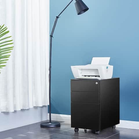 3-Drawer Side Pull Movable Flie Cabinet With wheel